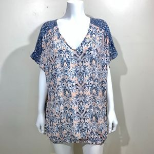 Lucky Brand Plus Size Blouse Pink Blue Shirt